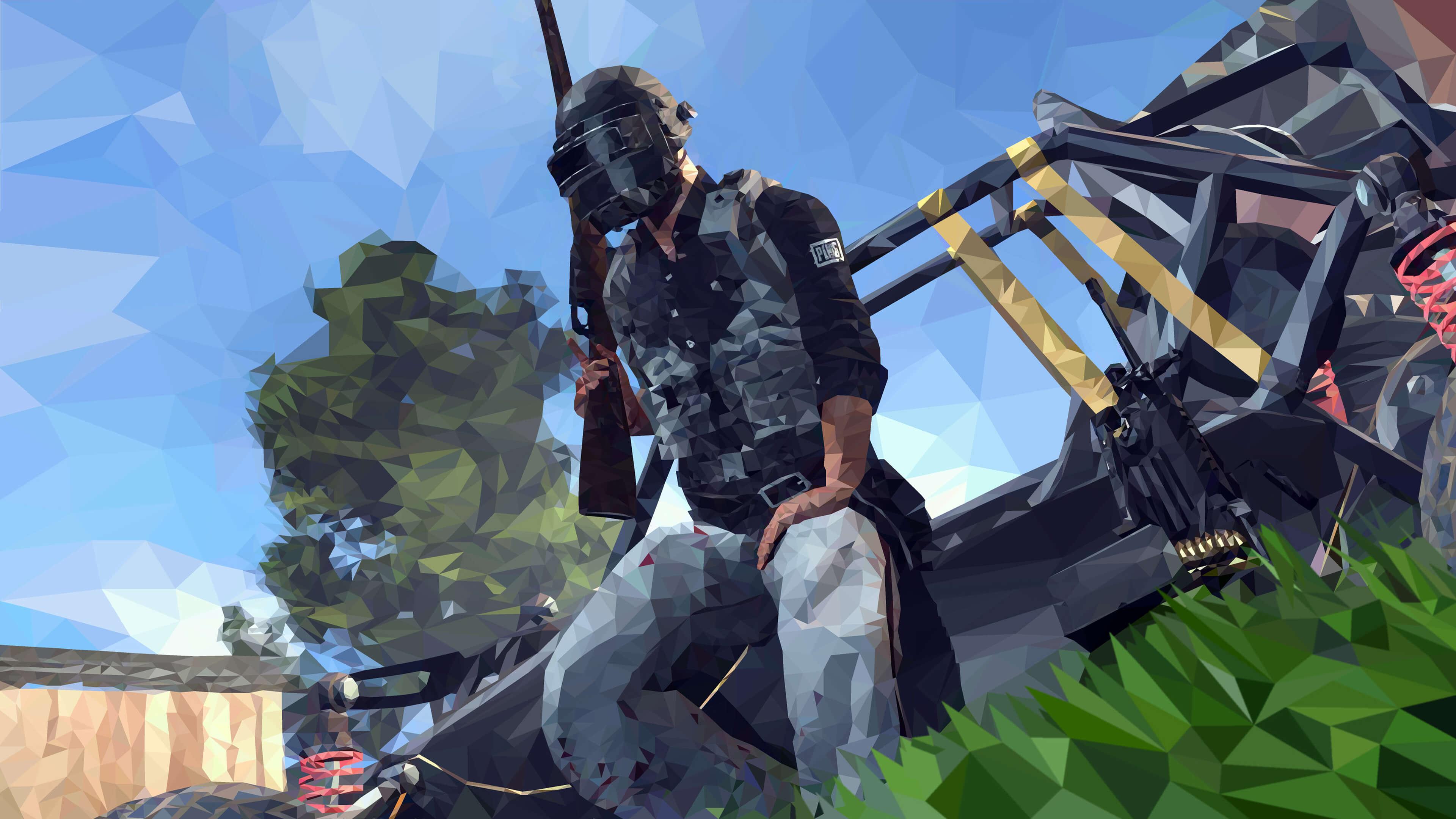 Игрок PUBG на багги обои