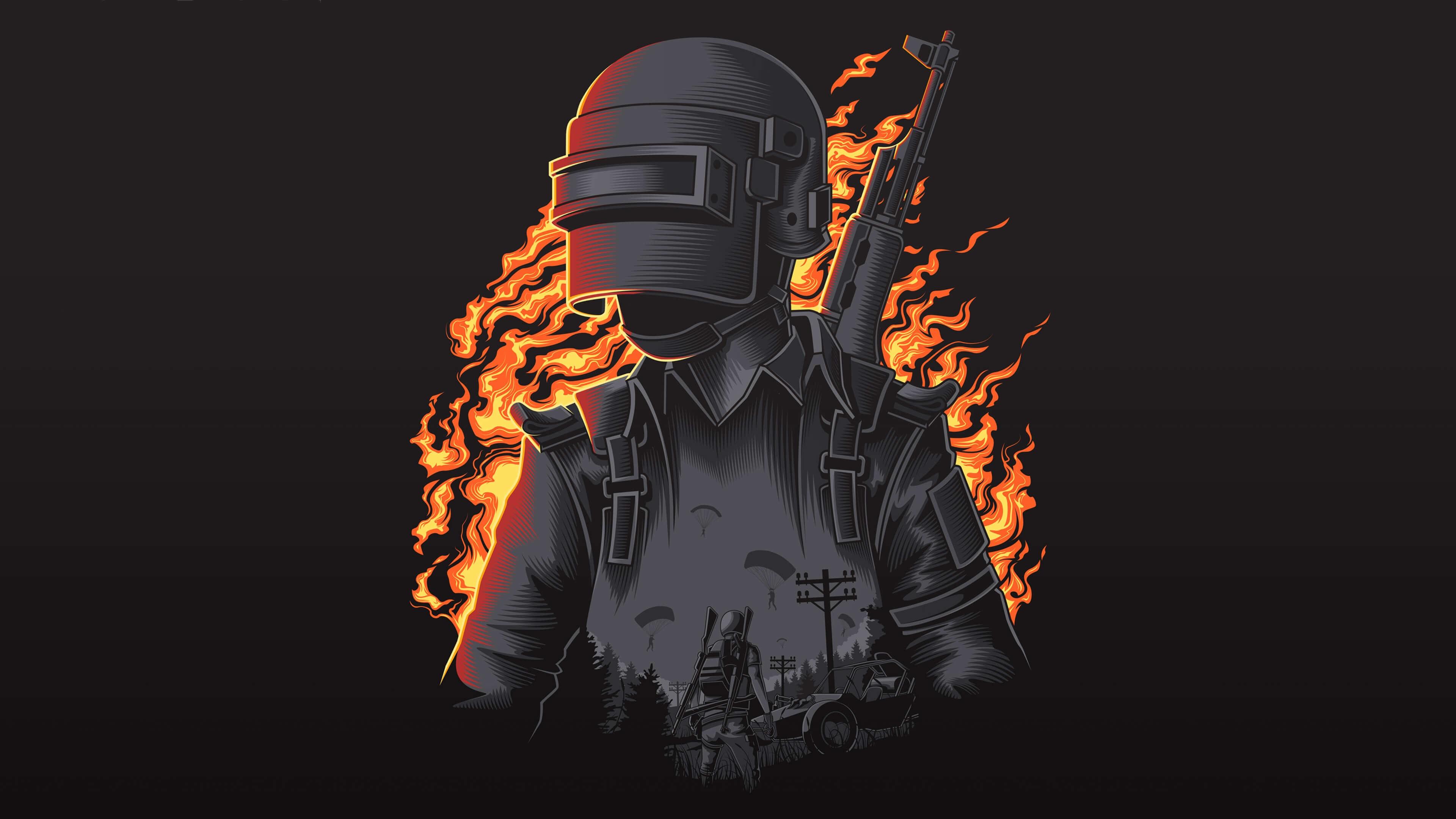 Обои PlayerUnknown's Battlegrounds на чёрном фоне