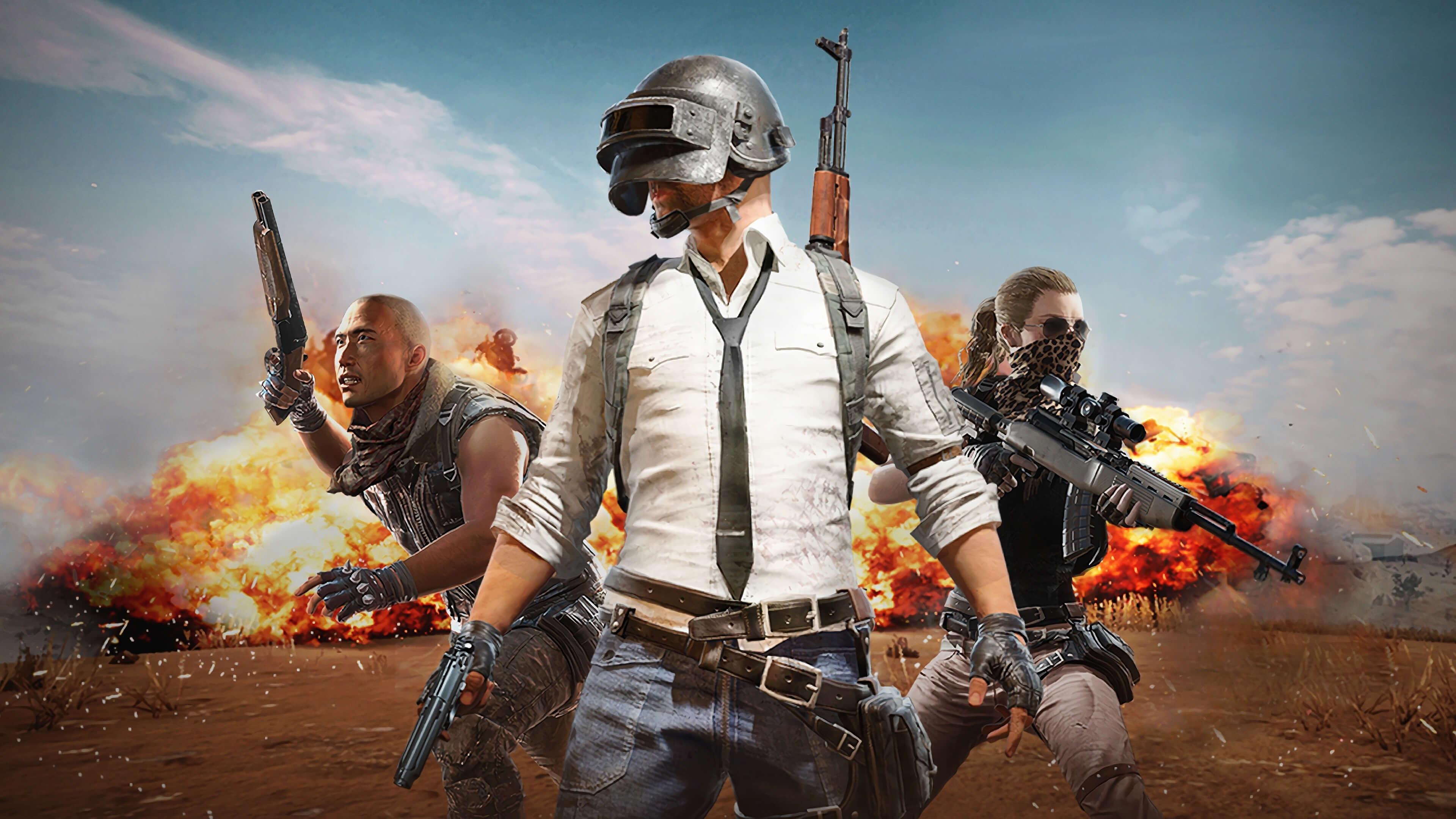 Обои PlayerUnknown's Battlegrounds трое после взрыва