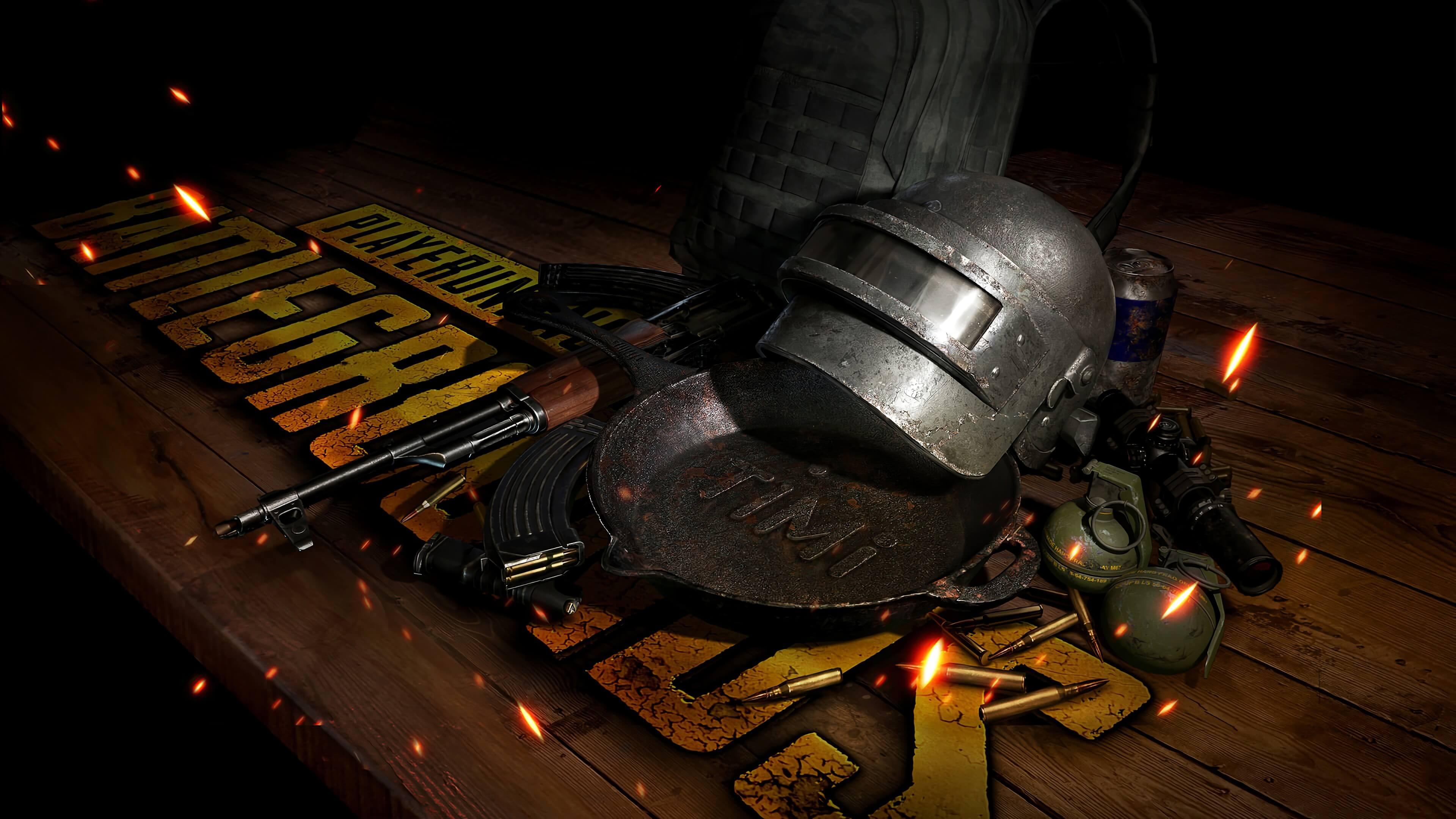 Набор экипировки на столе в PlayerUnknown's Battlegrounds